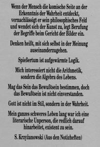 Sigismund Krzyżanowski - Aus den Notizheften