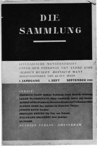 Erste Ausgabe der Zeitschrift Die Sammlung
