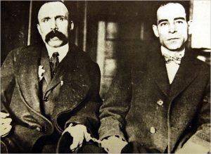 Nicola Sacco (rechts) und Bartolemeo Vanzetti (links), 1923