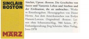 Ausgabe Ausgabe von Upton Sinclairs Roman Boston im März Verlag (1978)