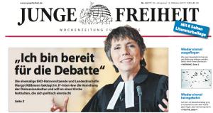 Margot Käßmann als Covergirl der neofaschistischen Wochenzeitung Junge Freiheit