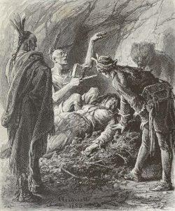 Le dernier des Mohicans (Zeichnung: Michał Elwiro Andriolli ; Beschriftung: M. Jules Huyot, 1884)