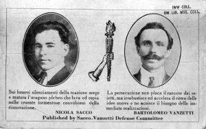 Sacco und Vanzetti auf einer Postkarte (ca. 1927)