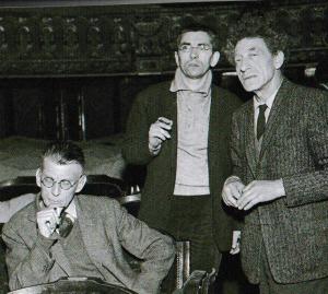 Samuel Beckett (mit Jean-Marie Serreau und Alberto Giacometti) bei Proben zu Warten auf Godot in Paris 1961