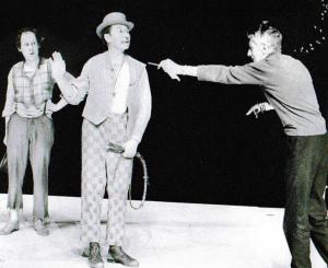 Samuel Beckett (mit Klaus Herm und Carl Raddatz) bei Proben zu Warten auf Godot in Berlin 1975